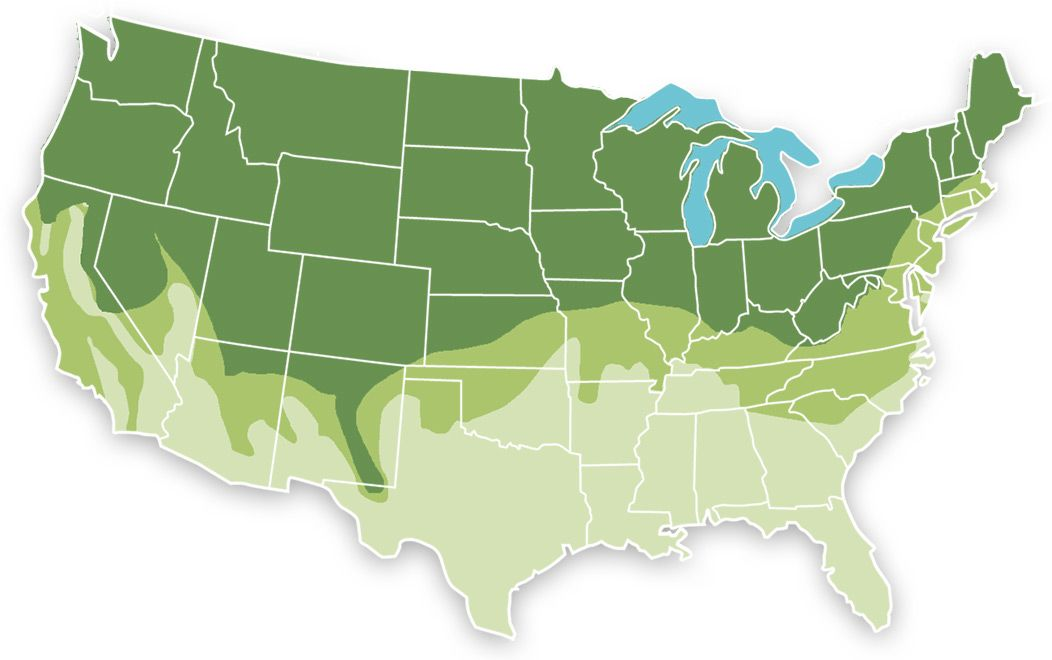 Range Map for No Mow Lawn Seed Mix with Rye
