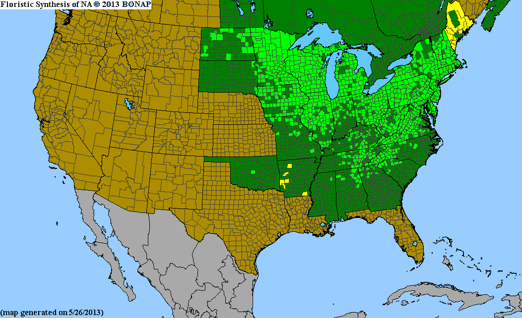 Range Map for Pennsylvania Sedge