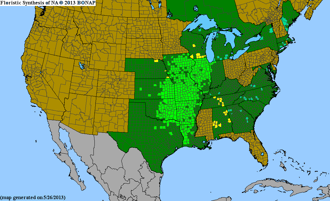 Range Map for Pale Purple Coneflower